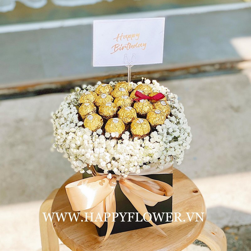 mẫu hoa socola và hoa cúc trắng