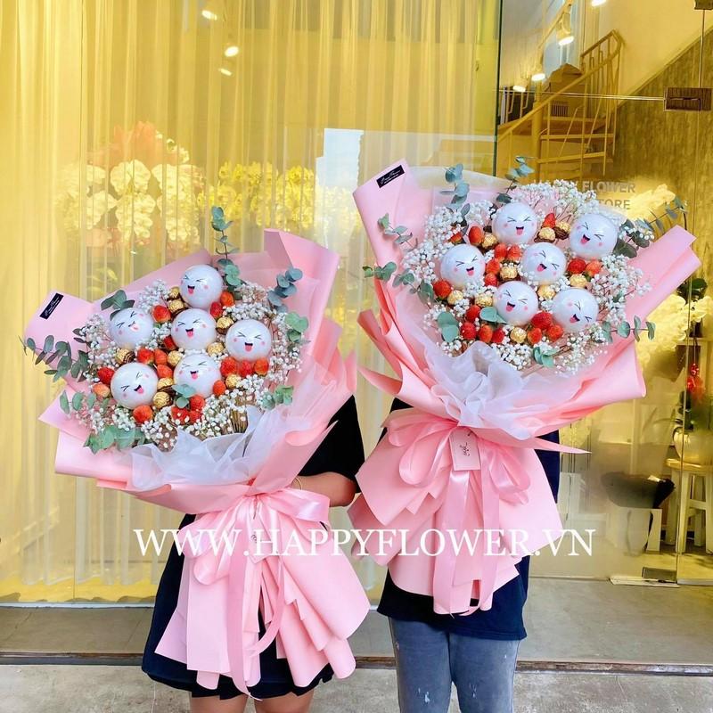 bó hoa làm từ kẹo hình mặt cười
