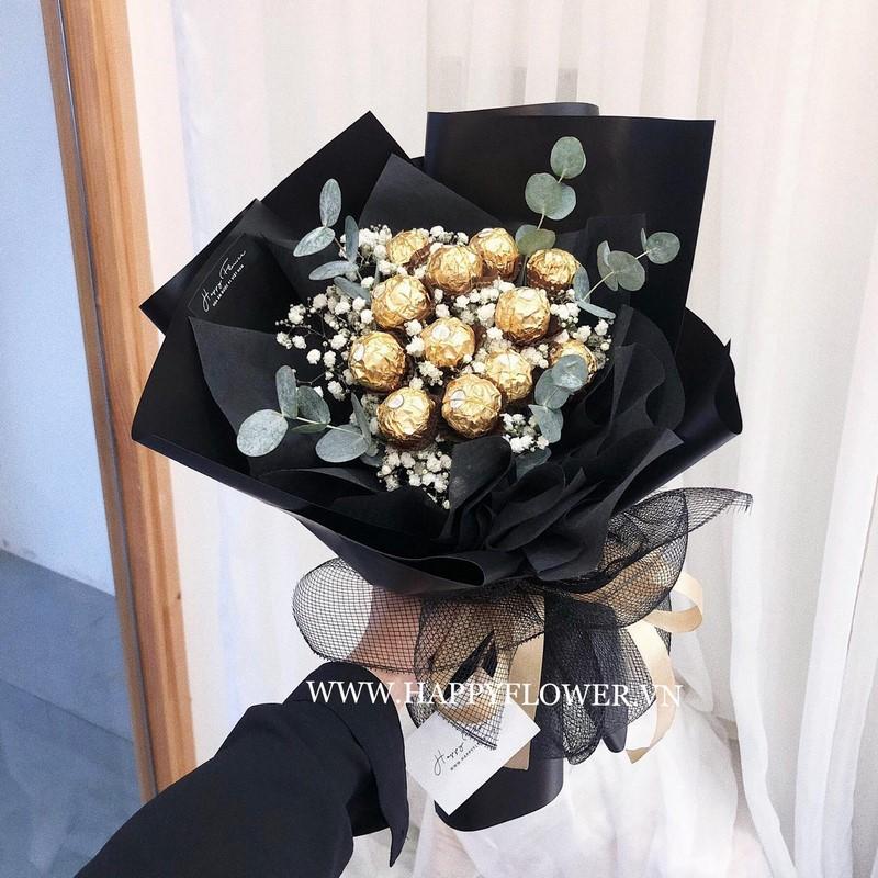 bó hoa socola đen độc lạ sáng tạo