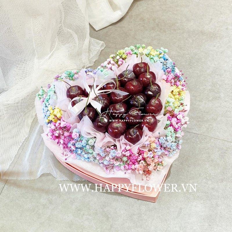 hộp hoa sinh nhật hình trái tim cherry mix hoa baby nhiều màu