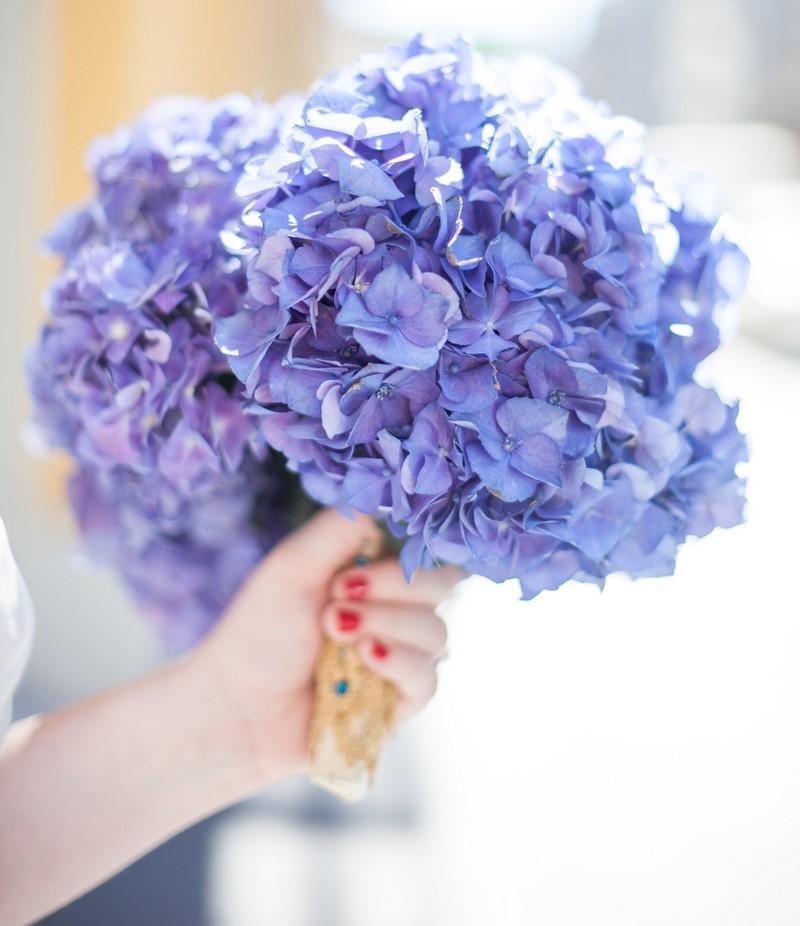 bó hoa cẩm tú cầu màu xanh dương