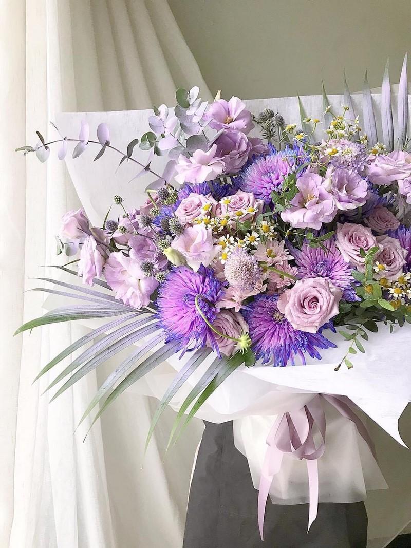 bó hoa cúc màu tím đẹp tặng sinh nhật
