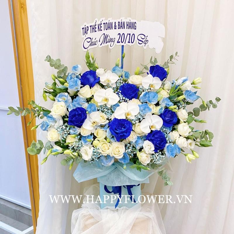 bó hoa hồng xanh nhập khẩu mix lan hồ điệp trắng