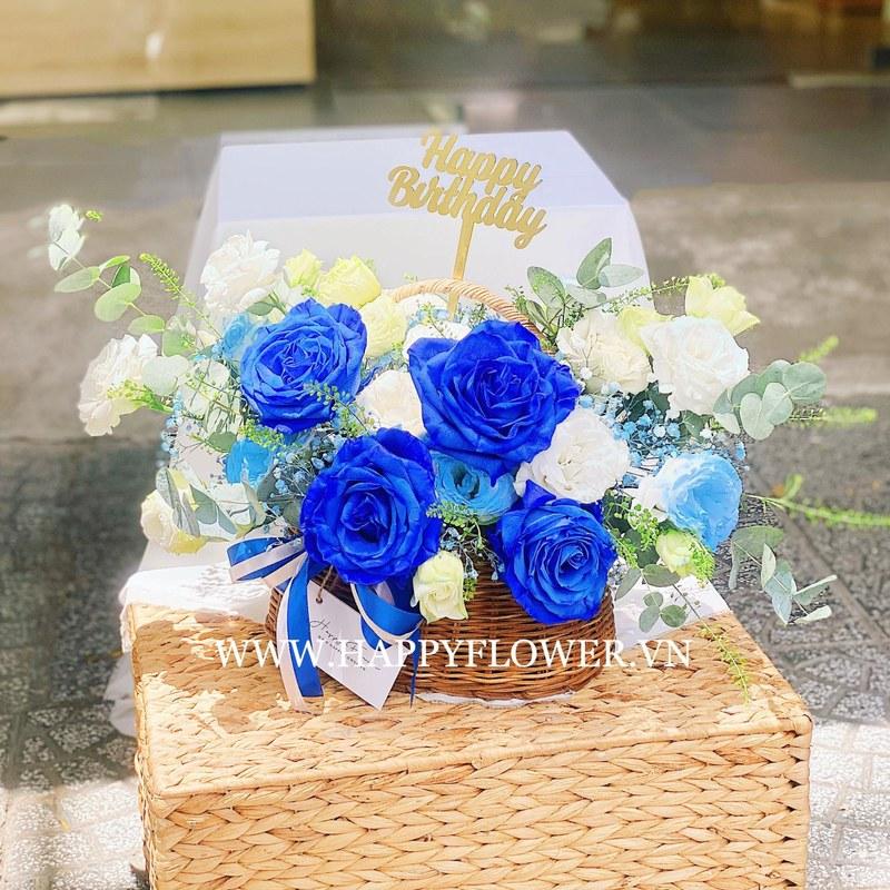 giỏ hoa hồng xanh nhập khẩu mix hoa hồng trắng