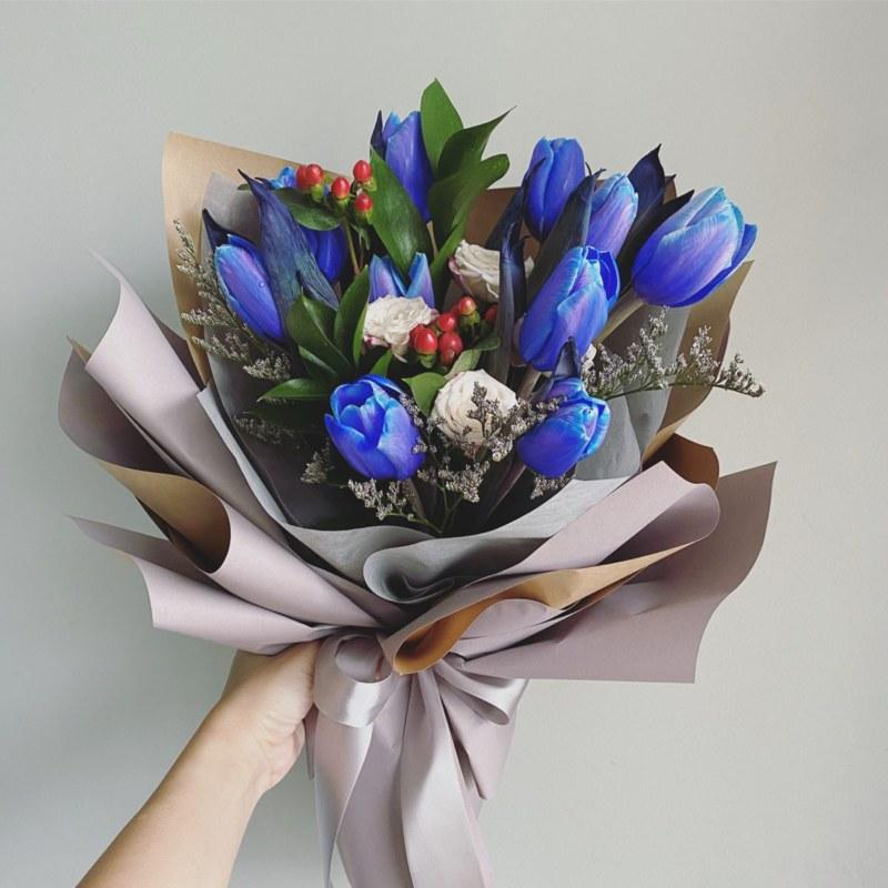bó hoa sinh nhật hoa tulip xanh độc đáo