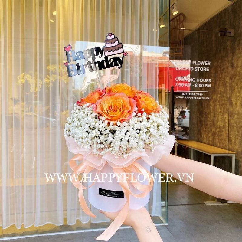Hoa hồng màu cam kết hợp hoa baby trắng