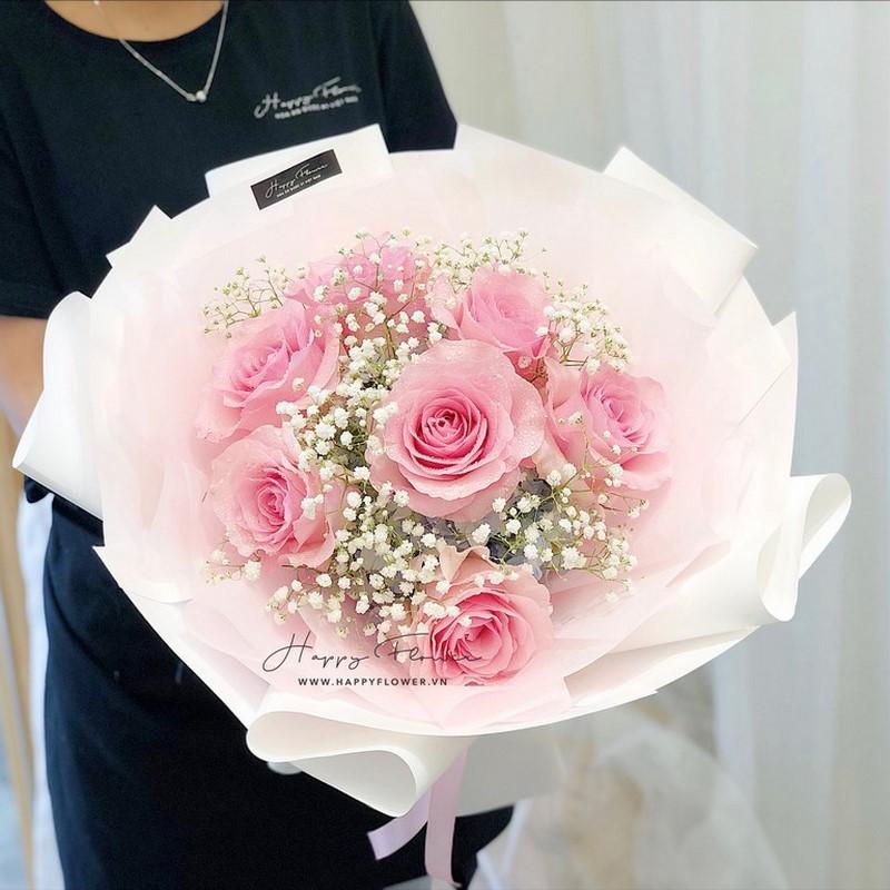 Bó hoa hồng kết hợp hoa baby tuyệt đẹp