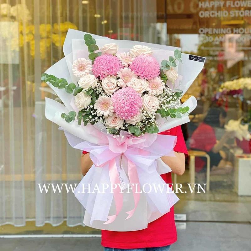bó hoa hồng màu pastel mix hoa đồng tiền và hoa hồng kem