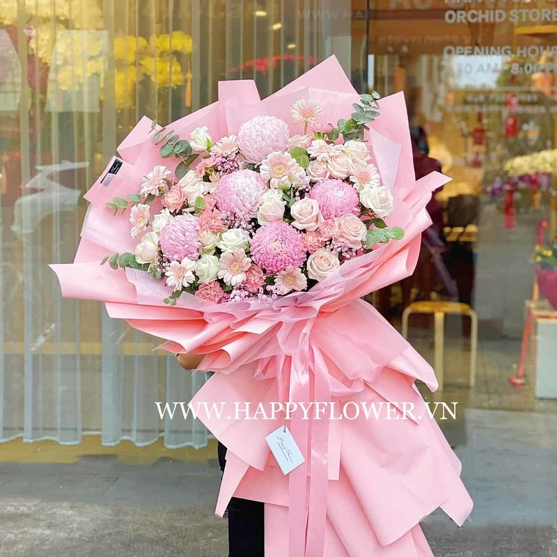 bó hoa cúc mẫu đơn hồng mix hoa hồng và hoa đồng tiền