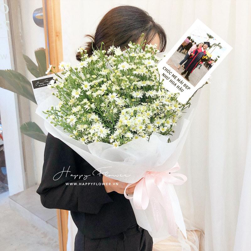 bó hoa thạch thảo kèm ảnh chụp dành cho sinh nhật tháng 11