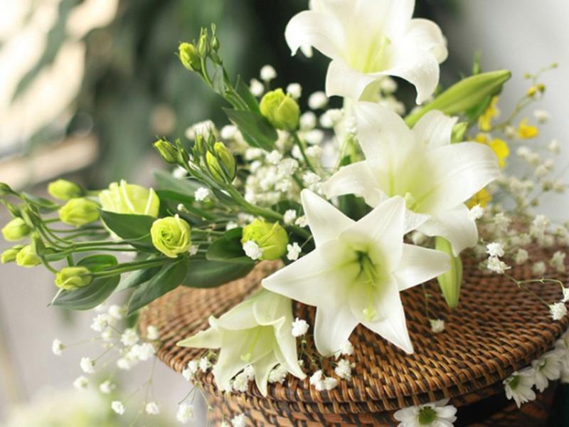 bó hoa loa kèn tông màu trắng xanh