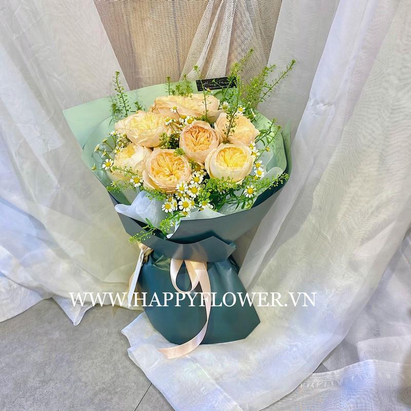 bó hoa juliet và cúc tana