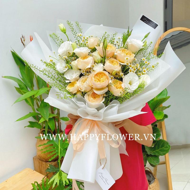 bó hoa hồng trắng phối hoa sơn trà và hoa cát tường