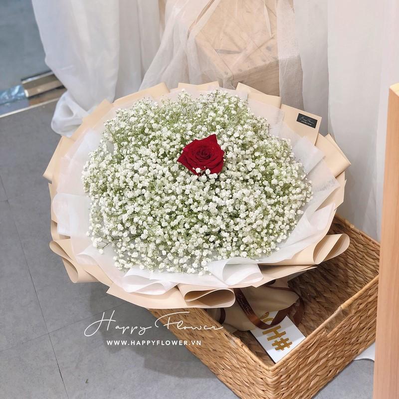 bó hoa baby trắng và hoa hồng đỏ tặng sinh nhật
