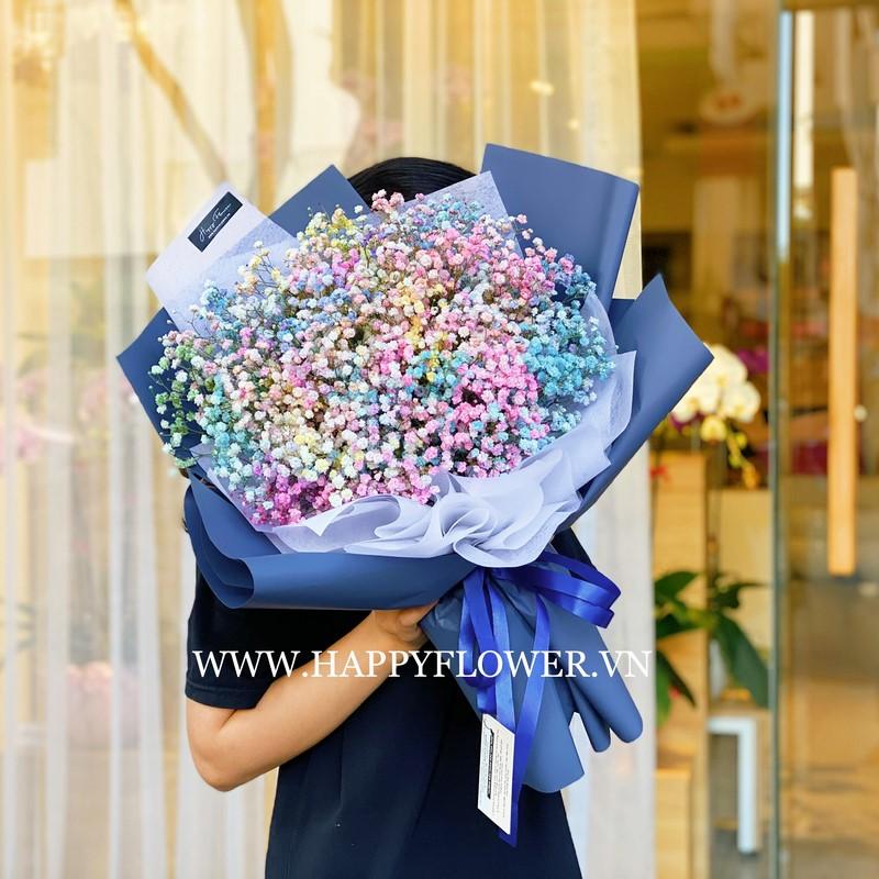 bó hoa baby 7 màu sắc cầu vồng tặng sinh nhật