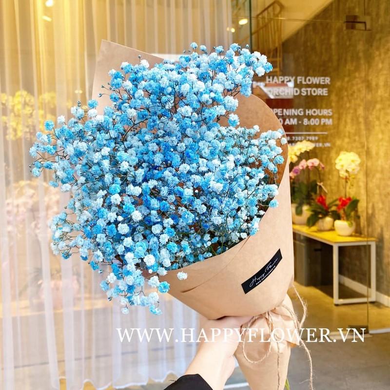 bó hoa baby màu xanh dương đẹp