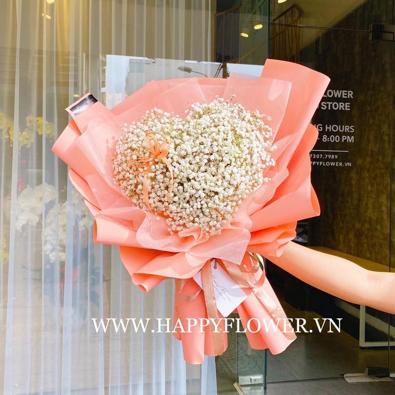 bó hoa baby trái tim giấy gói màu cam