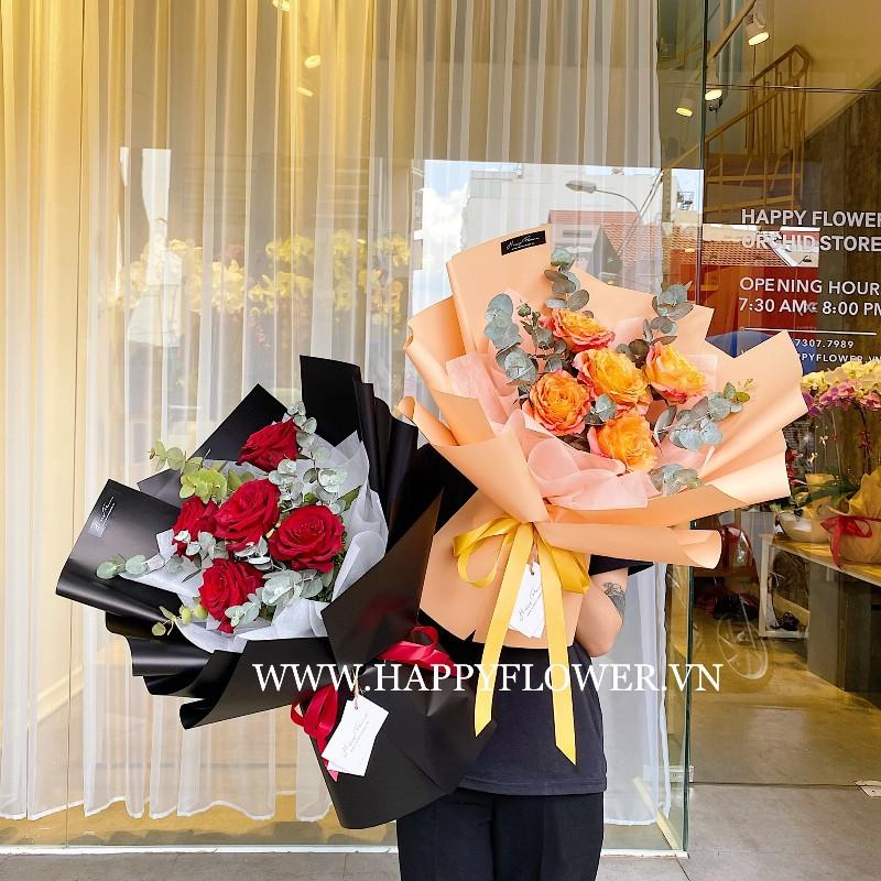Hoa hồng cam đậm và đỏ tặng sinh nhật
