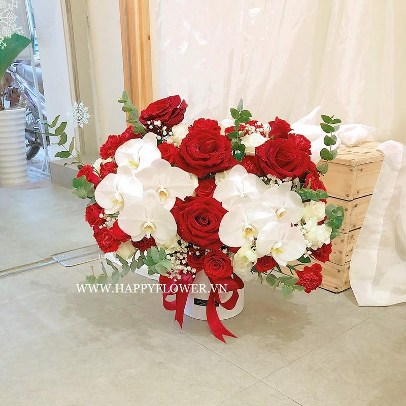 hộp hoa hồng đỏ rực và lan hồ điệp trắng