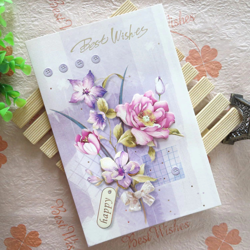 thiệp hoa tặng người yêu 20/11 màu tím thơ mộng