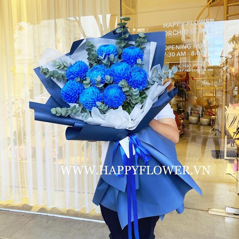 bó hoa cúc mẫu đơn màu xanh lộng lẫy