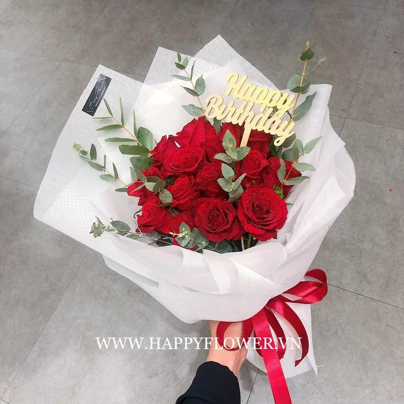 bó hoa hồng đỏ rực rỡ tặng sinh nhật