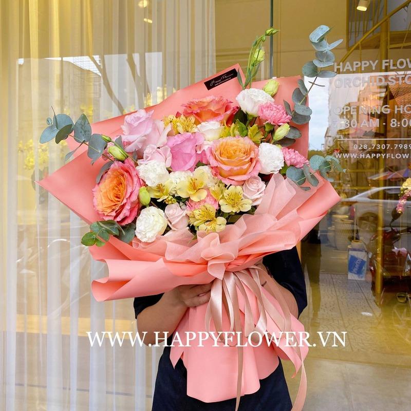 bó hoa tốt nghiệp hoa hồng nhiều màu sắc