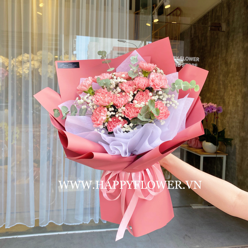 bó hoa tốt nghiệp cẩm chướng hồng mix hoa baby trắng