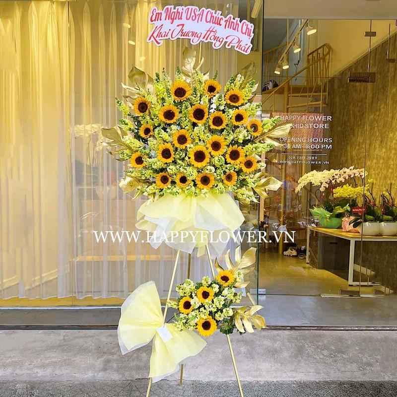 lẵng hoa hướng dương 2 tầng vàng rực rỡ