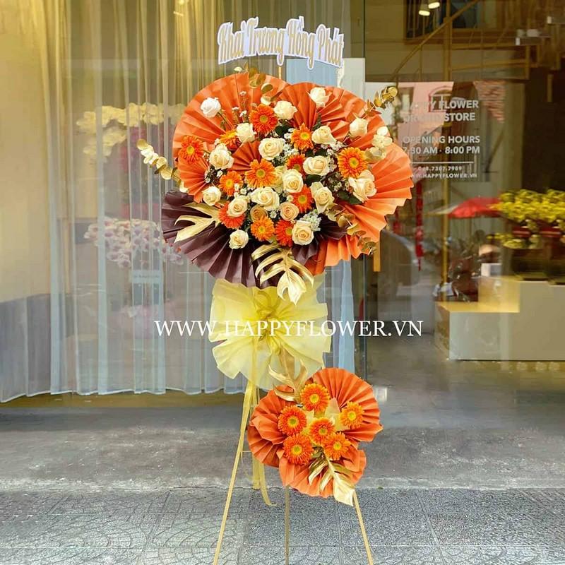 lẵng hoa hồng 2 tầng màu vàng cam