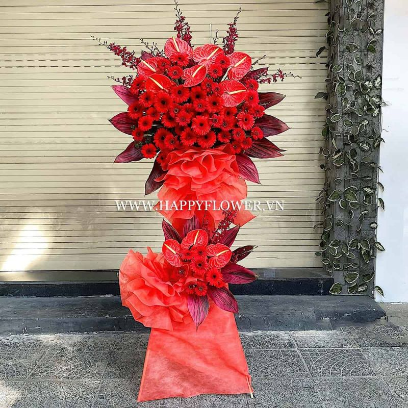 kệ hoa 2 tầng hoa đồng tiền đỏ