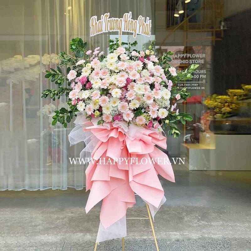 kệ hoa khai trương tông pastel hồng trắng