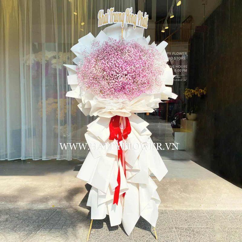 Lẵng hoa 2 tầng chúc mừng khai trương từ hoa baby hồng