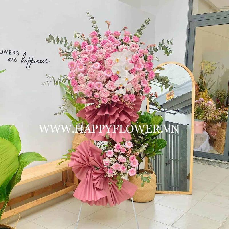 kệ hoa khai trương 2 tầng hồng phấn mix lan hồ điệp trắng