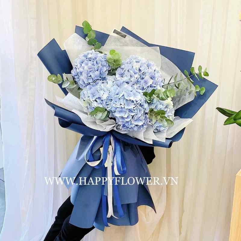 bó hoa cẩm tú cầu giấy xanh