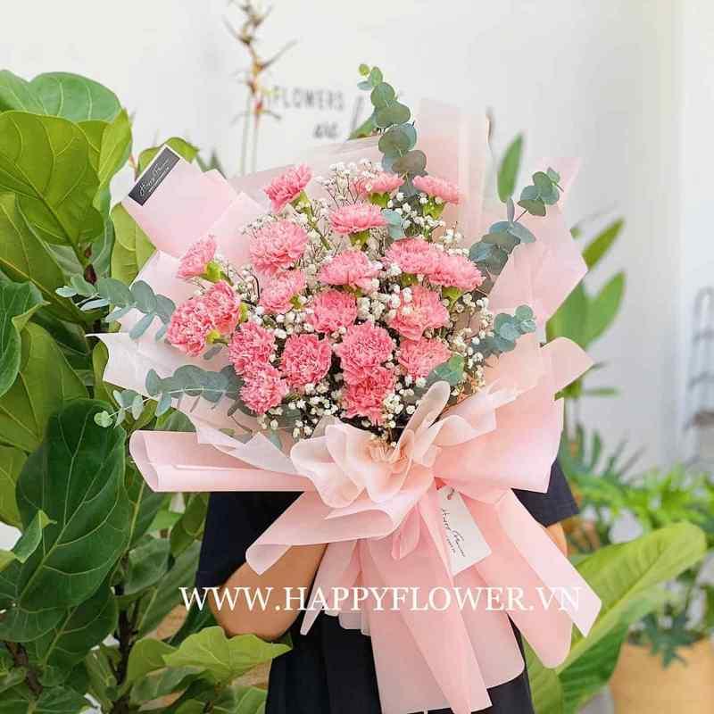 bó hoa cẩm chướng giấy hồng
