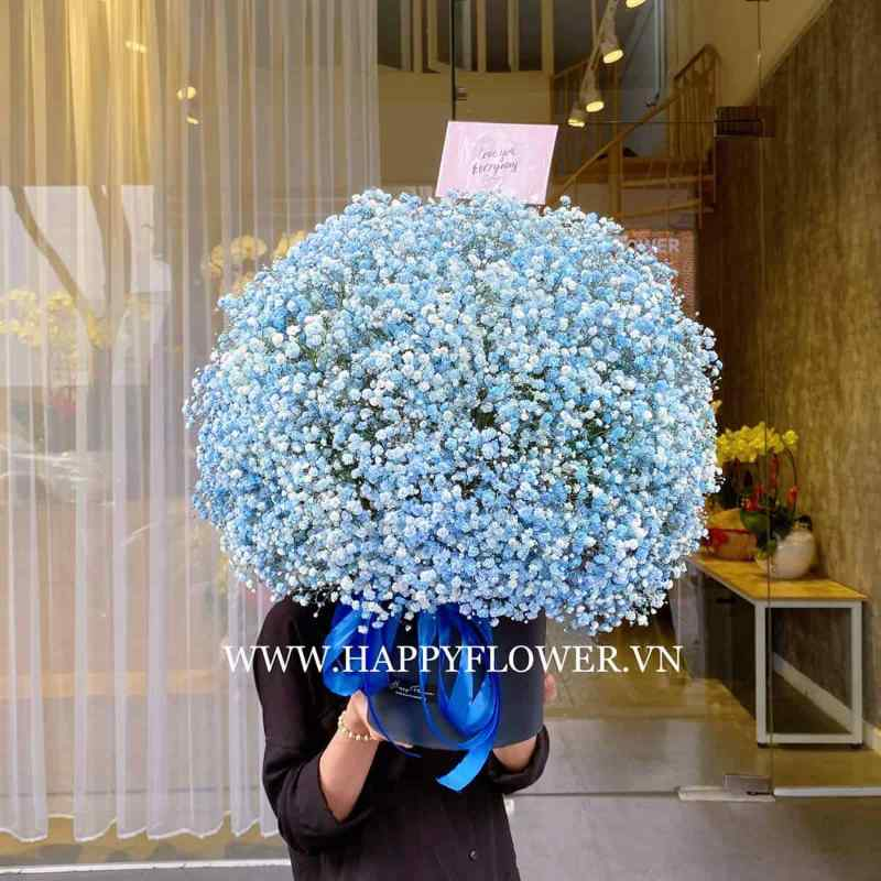 hộp hoa baby xanh lớn