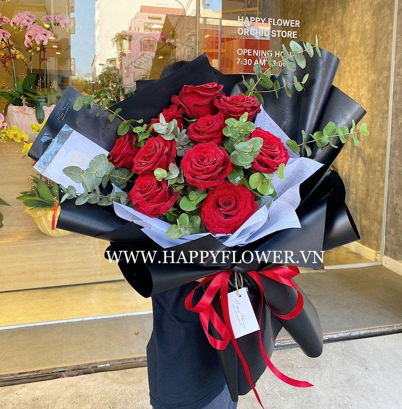 Bó hoa 8/3 hoa hồng ecuador rực rỡ