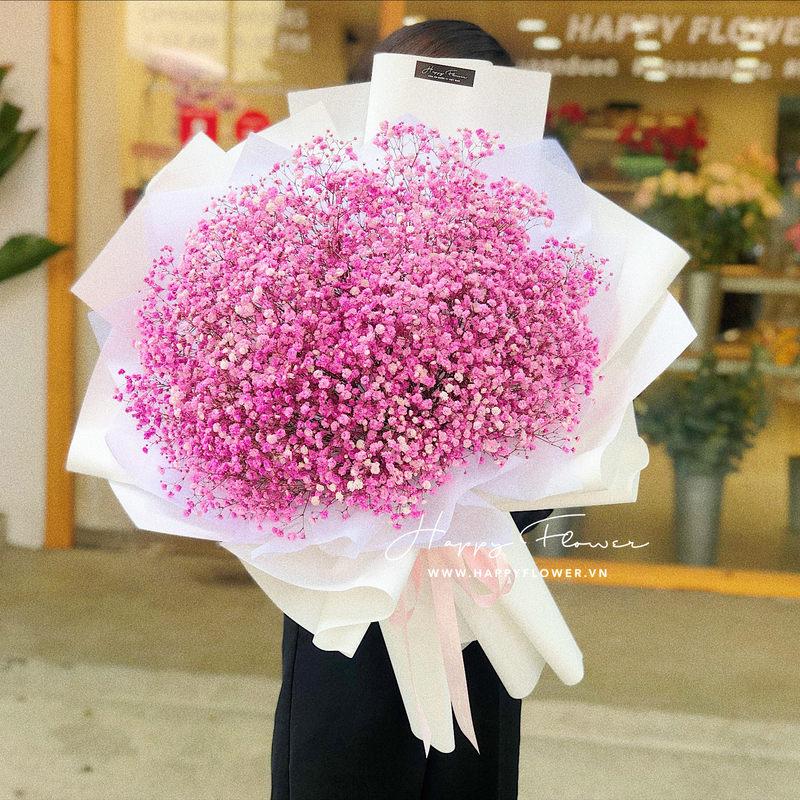 bó hoa 8/3 baby hồng nữ tính