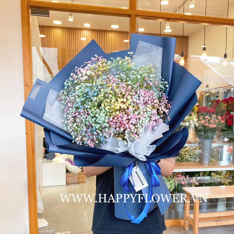 bó hoa 8/3 baby cầu vồng tặng cho người phụ nữ của bạn