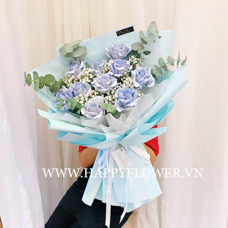 Bó hoa hồng xanh pastel chúc mừng sinh nhật độc lạ