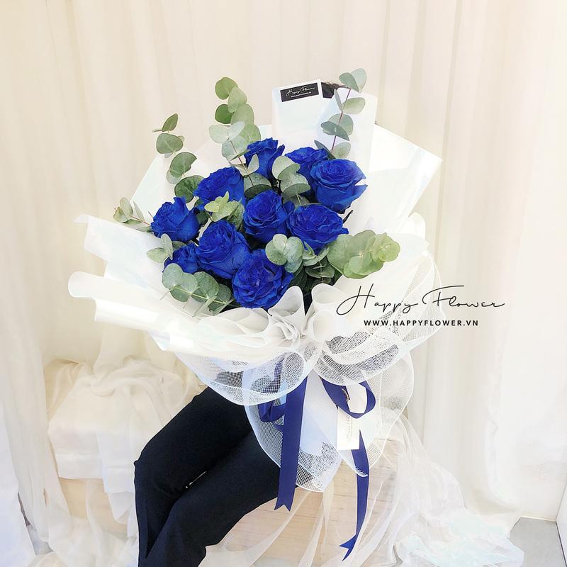 Bó hoa hồng xanh Ecuador nhập khẩu thu hút mọi ánh nhìn