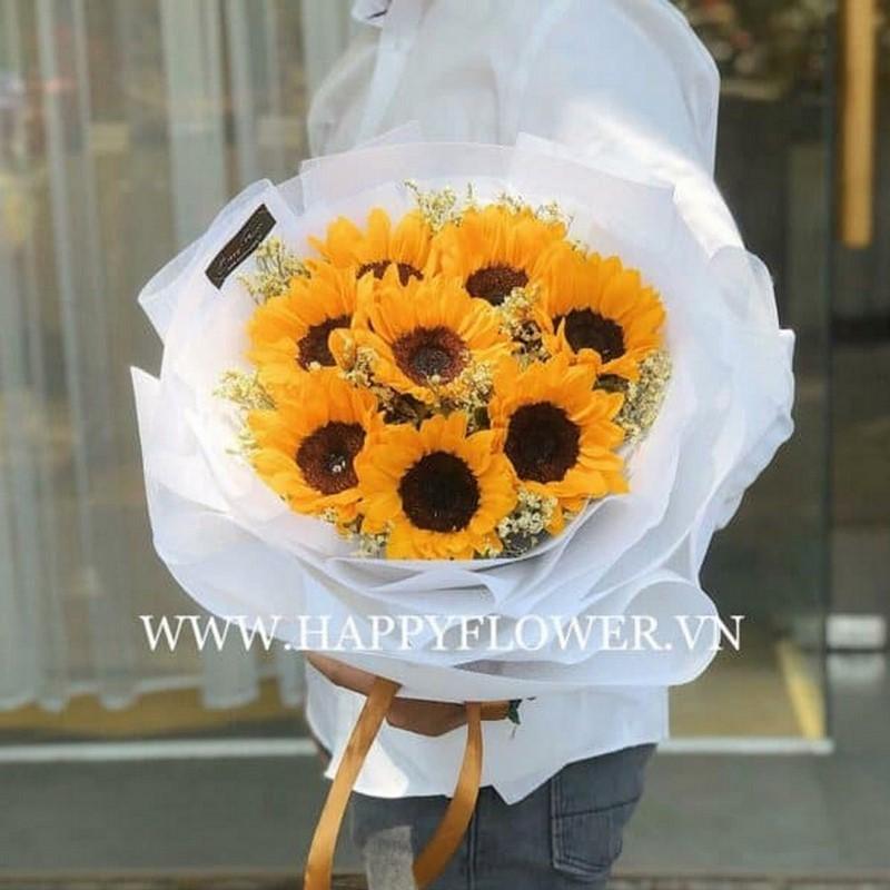 Bó hoa hướng dương được gói quà siêu đẹp
