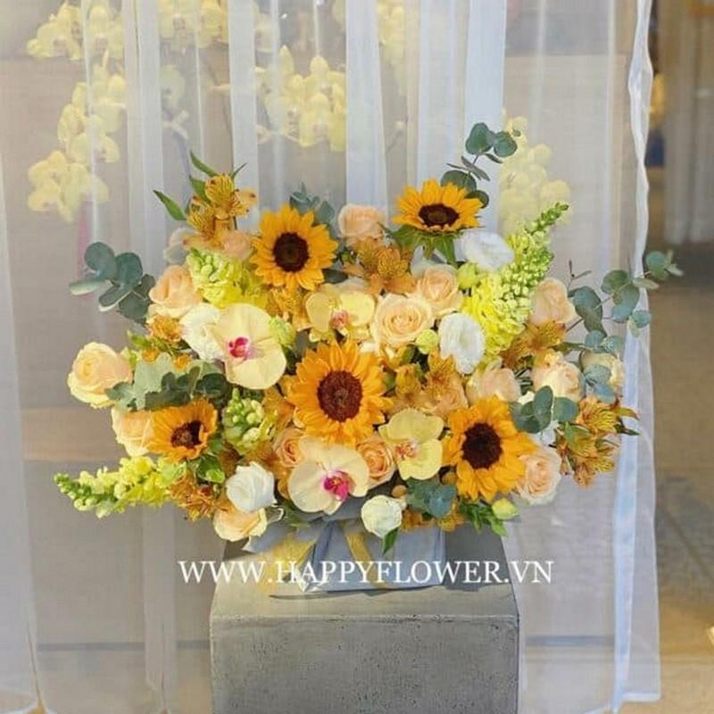 Lãng hoa hướng dương kết hợp với hoa lan