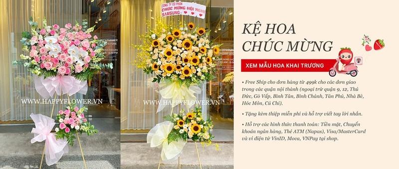 Liên hệ đặt hoa khai trương ý nghĩa tại Happy Flower