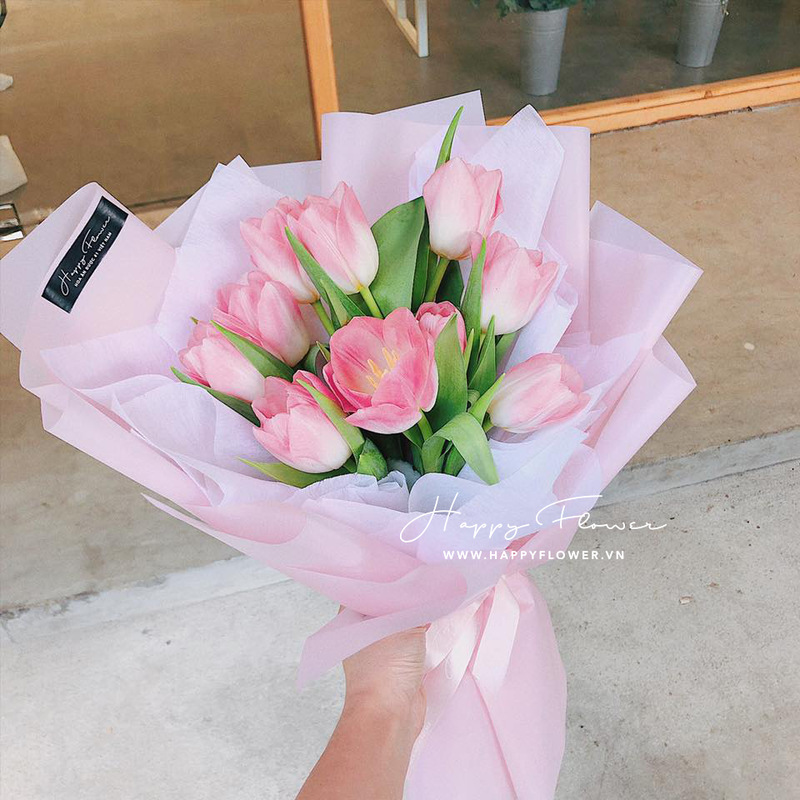 Bó hoa tulip hồng tặng hoa sinh nhật